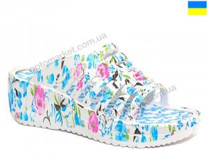 Купить Шлепки женские Verta Астра голубая роза Progress белый